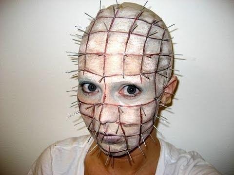 Makeup viso coperto di spilli per Halloween