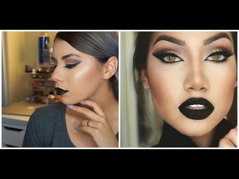 Makeup viso con rossetto nero tendenza AI 2015 2016