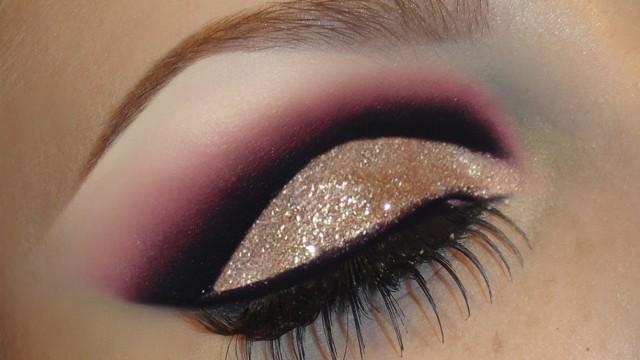 Trucco occhi e labbra con glitter oro