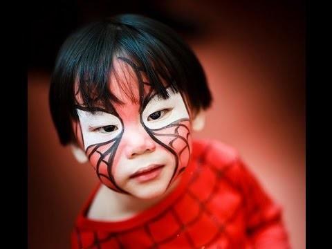 Trucco viso bambino da uomo ragno facile