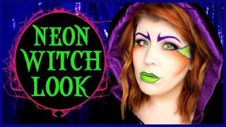 Trucco strega effetto fumetto neon verde e viola