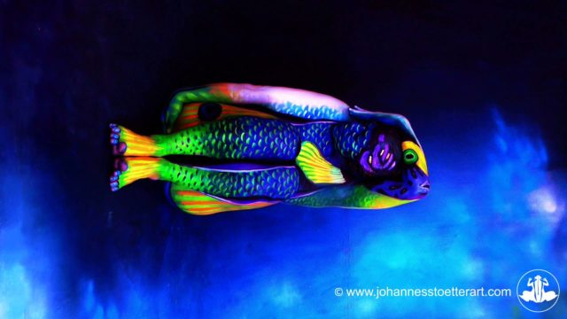 Body painting animali il pesce angelo