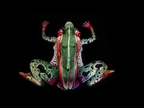Arte del camouflage con il body painting la rana